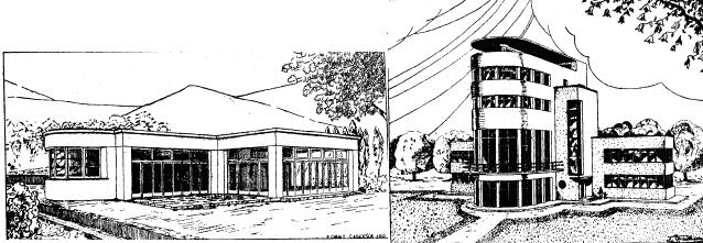 L'un des pavillons avec à gauche, la salle de travaux manuels, afin que l'enfant apprenne que les mains sont la plus grande richesse de l'homme. À droite, le pavillon central.