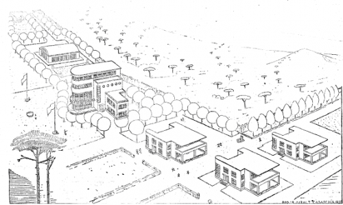 De gauche à droite : conciergerie, infirmerie, piscine couverte, pavillon central, trois pavillons de quatre salles chacun. Capacité d'accueil : 600 élèves.